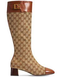 """Gucci 45mm Hohe Stiefel Aus Canvas Und Leder """"ellis"""" - Braun"""