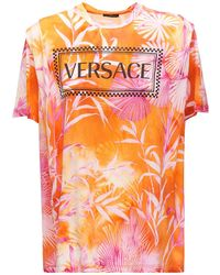 Versace タイダイコットンジャージーtシャツ - オレンジ