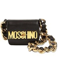 Moschino Micro Leather Shoulder Bag - Black