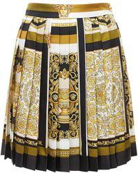 Versace Pleated Silk Twill Mini Skirt - Multicolour