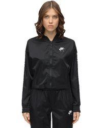 Nike Felpa In Raso Con Zip - Nero