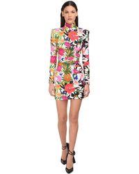 Dundas Floral Print High Neck Mini Dress - Многоцветный