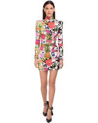 Dundas Floral Print High Neck Mini Dress - Mehrfarbig