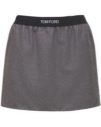 Tom Ford Mini-jupe En Jersey De Cachemire À Logo - Gris