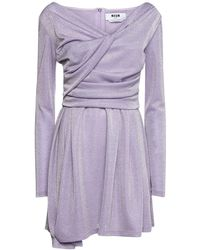 MSGM Короткое Платье Из Джерси - Пурпурный