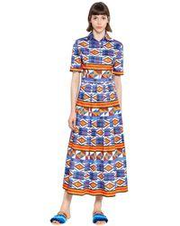 Stella Jean Geometric Print Plisse Cotton Dress - Blue