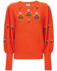 Gucci Floral ウール&コットンニットセーター - オレンジ