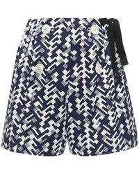 Prada - Shorts In Popeline Di Cotone Stampato - Lyst