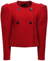 Isabel Marant Короткое Пальто Из Смешанной Шерсти - Красный