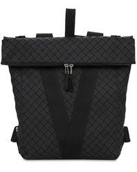 Bottega Veneta V Logo Rubberized Leather Backpack - Black