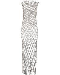 Balenciaga Basketball Crystal Chain Long Dress - Metallic