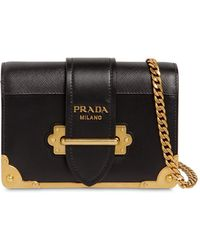 facea4eff7e9 Prada - Small Cahier Leather Shoulder Bag - Lyst