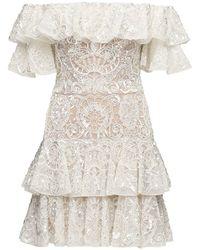Zuhair Murad Robe Courte En Tulle Embelli - Blanc