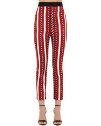 Haider Ackermann High Waist Striped Jacquard Trousers - Red