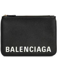 Balenciaga ロゴプリント グレインレザーポーチ - ブラック