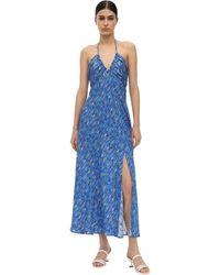 RIXO London Платье Из Шелка И Люрекса - Синий