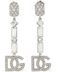 """Dolce & Gabbana - Clip-ohrringe Mit Pastell-kristallen """"dg"""" - Lyst"""