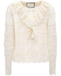 Gucci Рубашка Из Кружева - Белый