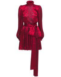 Saint Laurent - Платье Из Шелкового Атласа С Принтом - Lyst