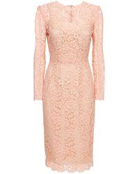 Dolce & Gabbana コットン&ビスコースレースエフェクトドレス - ピンク
