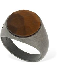 Marco Dal Maso Tiger Eye Stone Thick Pinky Ring - Braun