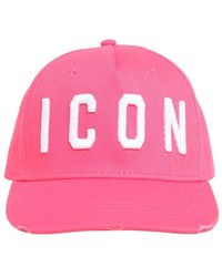 DSquared² Icon Cotton Canvas Baseball Hat - Pink