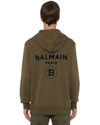 Balmain Flocked Logo Cotton Jersey Zip Hoodie - Зеленый