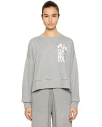 AALTO Evol Printed Cropped Sweatshirt - Grey