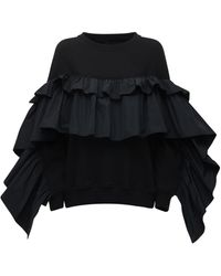 RED Valentino Black Tag ジャージー&タフタスウェットシャツ - ブラック
