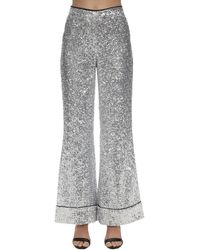 In the mood for love Sequined Flared Pajama Pants - Metallic