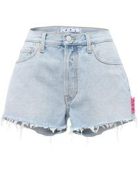Off-White c/o Virgil Abloh Shorts Aus Baumwolldenim Mit Saum Im Raw Cut - Blau
