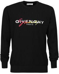 Givenchy Strickpullover aus Wolle mit mehrfarbiger Signatur - Schwarz