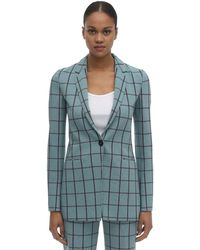 M Missoni Fitted Check Cady Jacket - Blue
