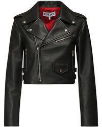 Loewe Укороченная Куртка Из Из Кожи - Черный