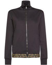 Versace ナイロン&コットンジップアップスウェットシャツ - ブラック