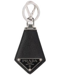 Prada Logo Saffiano Leather Key Holder - Black