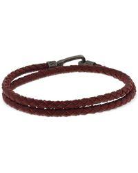 Marco Dal Maso Double Wrap Braided Leather Bracelet - Braun