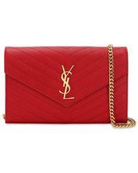 Saint Laurent Medium Quilted Monogram Bag - Red