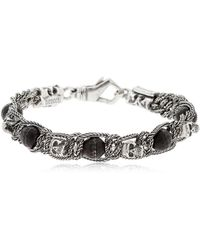 Emanuele Bicocchi - Onyx & Skull Braided Silver Bracelet - Lyst