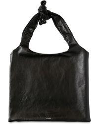 Jil Sander - Logo Printed Leather Top Handle Bag - Lyst