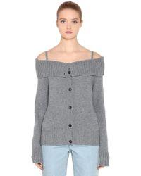 Prada - Off The Shoulder Cashmere Cardigan - Lyst
