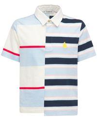Lanvin パッチワークボーダーポロシャツ - ブルー