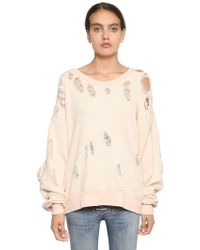 Unravel - Ripped French Terry Cotton Sweatshirt - Lyst