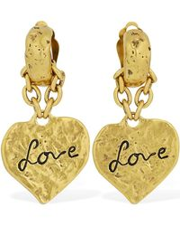 Saint Laurent Love Heart イヤリング - メタリック