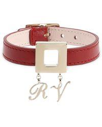 Roger Vivier Leather Bracelet W/metal Charm Buckle - Red