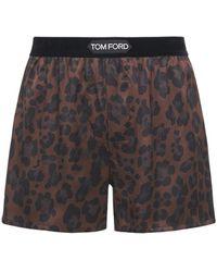 Tom Ford Leopard ストレッチシルクボクサーブリーフ - ブラウン
