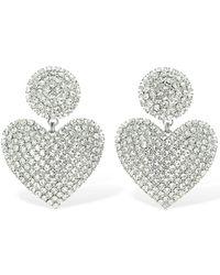 Alessandra Rich Crystal Heart Clip-on Earrings - Mettallic