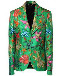 Versace Пиджак Из Шелка С Принтом - Зеленый
