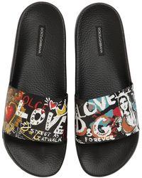 Dolce & Gabbana - Graffiti Rubberized Leather Slide Sandal - Lyst