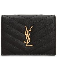 Saint Laurent Monogram Quilted Leather Wallet - Black